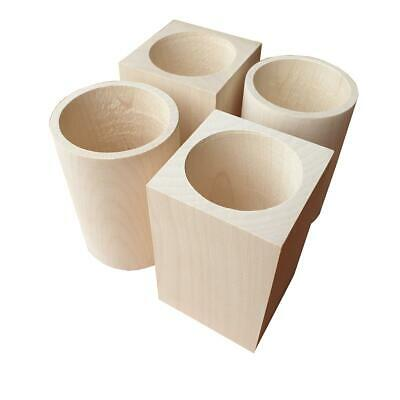 - Decoupage // Unpainted Wooden Square Cups 100/% of Natural Wood Set of 2