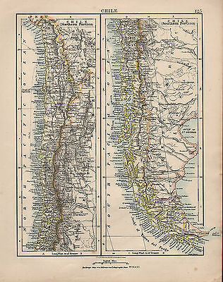 1909 Map ~ South America ~ Chile Northern & Southern Portion