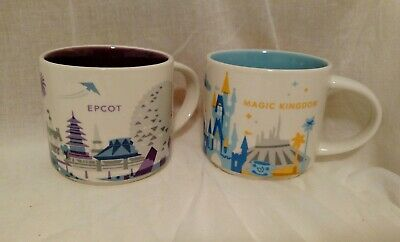 Starbucks Disney Parks Epcot & Magic Kingdom You Are Here YAH Coffee Mugs Cups