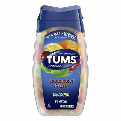 TUMS Antacid Chewable Tablets Extra Strength 750 Assorted Fruit 96 Heartburn