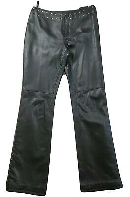 Harley Davidson Biker Babe Black Leather Bootcut Studded Pants Size 4