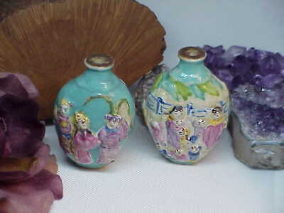 2 Early Antique Chinese Porcelain Perfume Snuff Bottles Character mark Export
