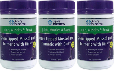 Blooms Green Lipped Mussel With Tumeric And Biop 100 Vege Caps  X 3 $17.40 each