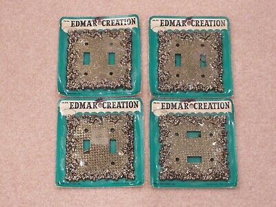 4 Vtg EDMAR Floral Double Light Switch Plate Wall Covers (2 Light Switch)
