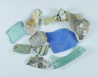 Ancient Roman Glass Fragment Patina Genuine Iridescent 100-200 Bc 0012