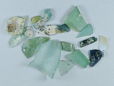 Ancient Roman Glass Fragment Patina Genuine Iridescent 100-200 Bc 0026