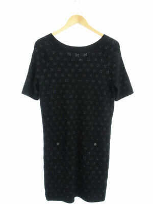 Authentic CHANEL COCO Button Short Sleeve Dress P59799K07807 #F38 Black Rank AB