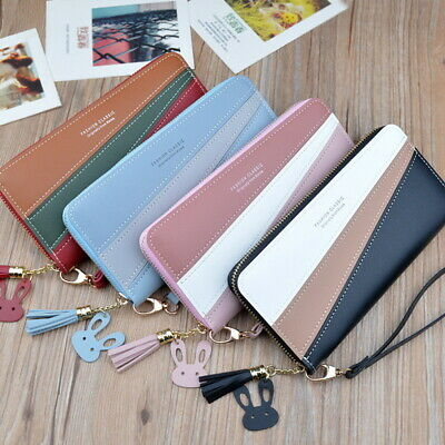 Womens Ladies  PU Wallet Long Zip Purse Card Phone Holder Case Clutch Handbag UK