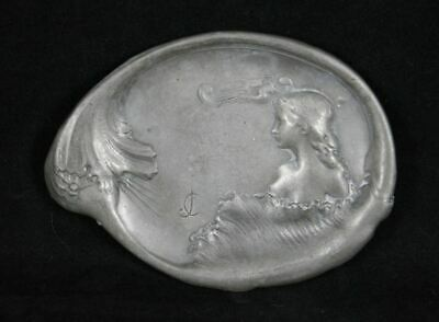 Antique Art Nouveau French maiden pewter dish c1900's signed JC or CJ EAC