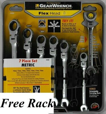 Gear Wrench 7-PC Metric Ratcheting Flex Head Wrench Set 10 12 13 14 15 17 19mm