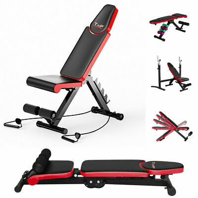 Folding Adjustable Weight Bench Foldable Flat Sit Up Gym Exercise Weight Bench