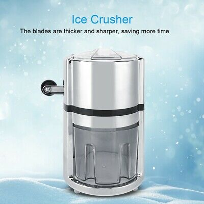 Stainless Steel Round Hand Crank Manual Ice Crusher Shaved Ice Machine Quickly