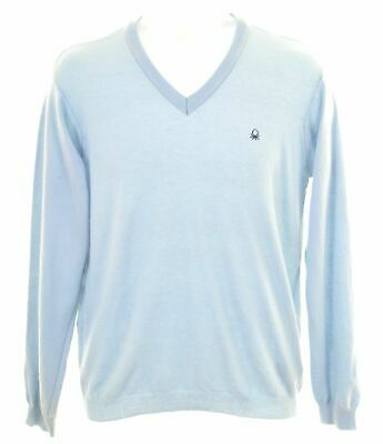 UNITED COLORS OF BENETTON Boys V-Neck Jumper Sweater 11-12 Years 2XL Blue  IH14