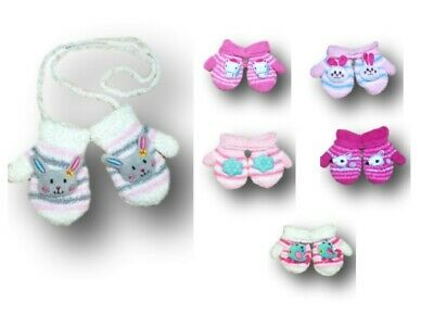 Baby Girl Toddler Winter Fluffy Mittens With String Toy Gloves Size 6 M-3.5Y