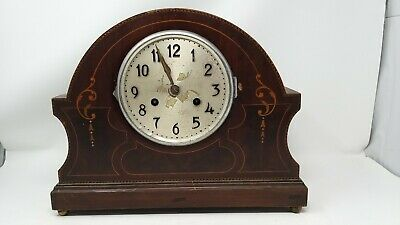 old antique vintage mantelpiece clock inlaid shaped brass feet pendulum key SOR