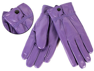 Ladies Soft Leather Gloves Purple From Lorenz With  Button Fastening L New