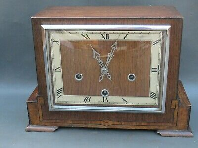 Vintage Art Deco wooden Enfield mantle clock with Westminster chimes