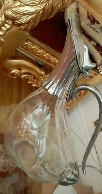 Antique Claret Jug Glass & Silver Plate Mounted 'Duck
