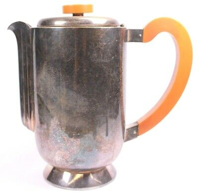 Art Deco WMF German Silver Plate and Bakelite Coffee Pot