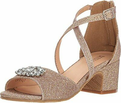 Kids Badgley Mischka Kids Girls Pernia Gems Zipper Slide, Rose Gold, Size 12.0 P
