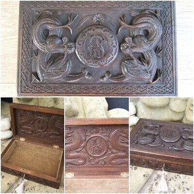 Lovely 19C Anglo Indian Hand Carved Antique Jewellery Box - Fab Interior