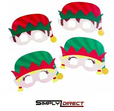 Pk of Christmas Elf Masks Party Bag Stocking Filler Xmas Table Decorations Games