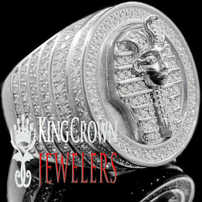 10k White Gold Silver Mens Diamond King Tut Egyptian Pharaoh Fashion Ring Band