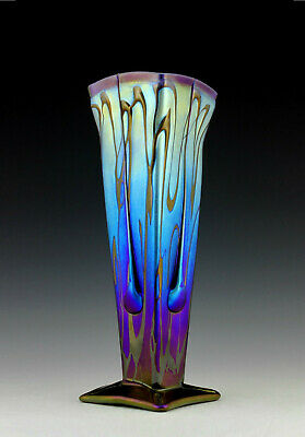 Glamorous Bohemian Art Deco Iridescent Glass Large Decorative Vase