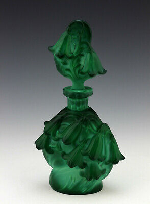 Art Deco Bohemian Malachite Glass Perfume Bottle 1930' H.Hoffmann