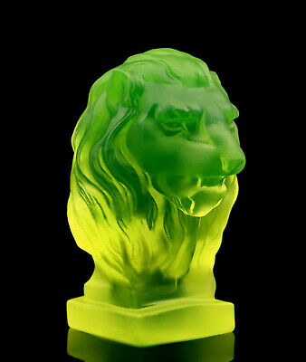 Art Deco Bohemian Vaseline Glass ' Lion ' Car Mascot Sculpture H.Hoffmann