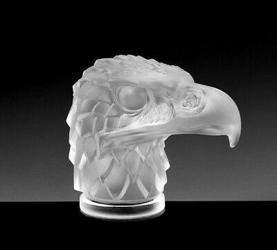 Art Deco Glass Car Mascot ' Head Eagle ' Sculpture Hood Ornament Figurine