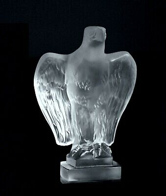 Art Deco Glass Car Mascot ' Eagle ' Hood Ornament Figurine H.Hoffmann