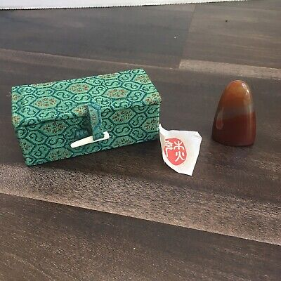 Vtg Polished Agate Stone Henko Stamp Seal With Box