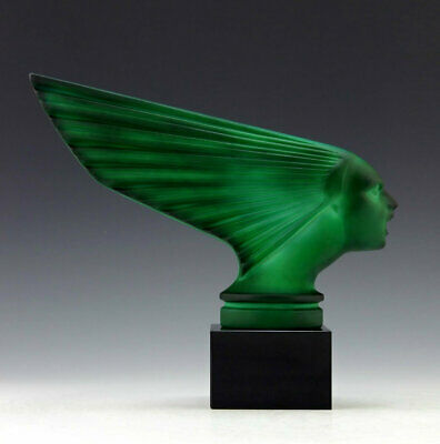 Art Deco Glass Car Mascot Figurine ' Victoire ' Hood Ornament H.Hoffmann 1930'