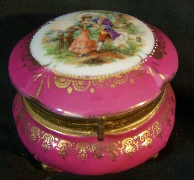 Antique Porcelain HP Trinket Ring Pill Jewelry Box IRICE Germany Romantc Scenic