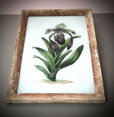 Vintage Indian Reverse Glass Painting. Two Available: Black Iris & Water Lily.
