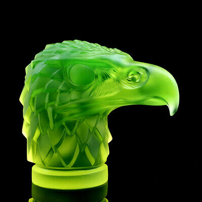 Art Deco Bohemian Vaseline Glass Car Mascot ' Head Eagle ' H.Hoffmann