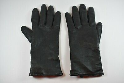 Charter Club Womens Black Leather Gloves Cashmere Wool Lining Size Large