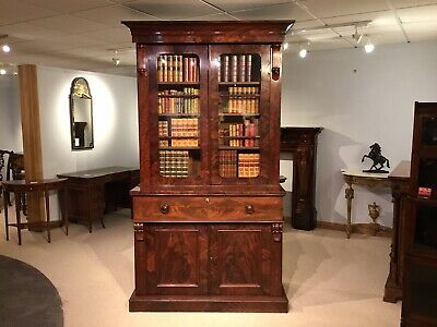 A flamed mahogany Early Victorian Period secretaire bookcase