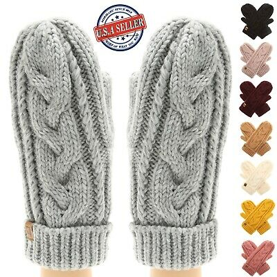 Women's Warm Winter Gloves Cozy Soft Cable Knit Mittens with Fleece Lining
