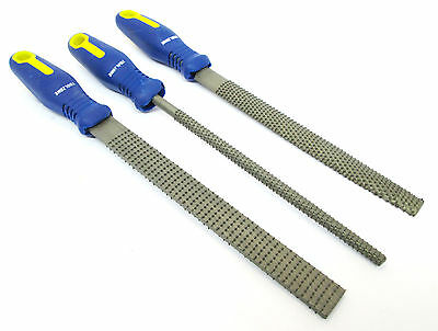 Wood Rasp File Set 3pcs 8 Inch 200mm With Soft Grips Woodworking Carpentry WW099