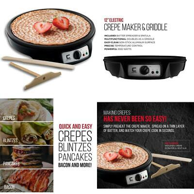 Chefman Electric Crepe Maker Griddle: Precise Temperature Control For Perfect Bl