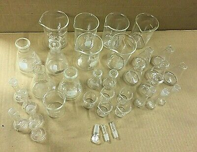 Beakers & Flasks Pyrex & Kimax 5mL- 100mL Glass Stoppers Lot of 35