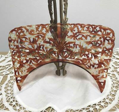 Antique Vtg Unusual Rectangular Spanish Mantilla Faux Tortoise Shell Carved Comb