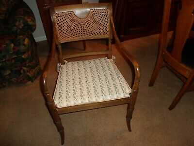 Cane Bottom and Back Vintage Armchair Accent Chair