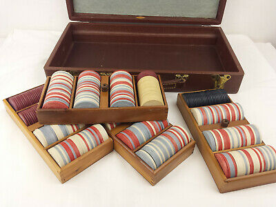420 Clay Poker Chips with Case Red-White-Blue Vintage