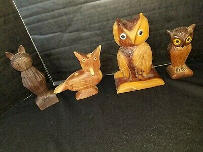 Vintage Hand Carved Wooden Owl Bird Figures Decor Folk Art Lot 4