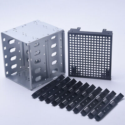 """Stainless Steel HDD Cage Rack SAS SATA Hard Drive Tray Caddy 5.25"""" To 5x 3.5"""""""