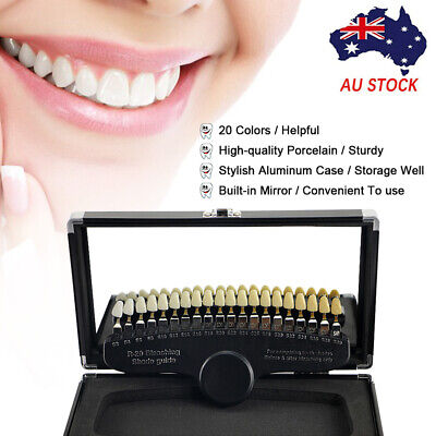 20 Colors Teeth Whitening 3D Shade Guide  Comparator W/ Mirror Dental Plate I4G2