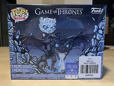 Funko Pop Icy Viserion Pop and Tee GITD L #22 Game of Thrones Box Lunch Exclusiv